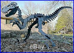 10' long Raptor Velociraptor dinosaur metal sculpture artwork puzzle for yard