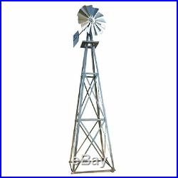 12Ft Tall Garden Windmill Tower Yard Decor Wind Weather Vane Landscape Sculpture