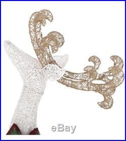 160-Light PVC Deer 60 in. 120-Light Sleigh 44 in. LED Christmas Yard Decoration