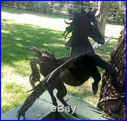 18 Metal Pegasus Sculpture Black Flying Winged Horse Figurine Yard Art Decor