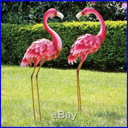 2 Flamingo Garden Statue Yard Art Metal Outdoor Patio Decor Sculpture Life Size
