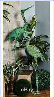 2 Garden Cranes Statue Birds Coastal Metal Rust Yard Sculpture Iron Lawn Decor