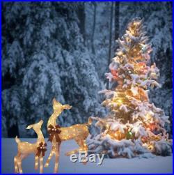 2 LED Standing Deer Lighted Sculpture W Champagne Frame Christmas Yard Decor 38