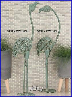 2 Pc Flamingo Garden Art Statue Rustic Hollow Metal Sculpture Outdoor Yard Decor