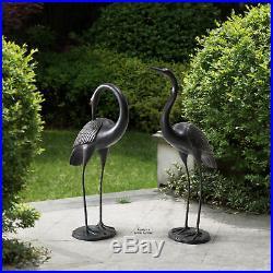 2 Pcs Crane Garden Statue Bird Heron Outdoor Sculpture Yard Art Lawn Pond Decor