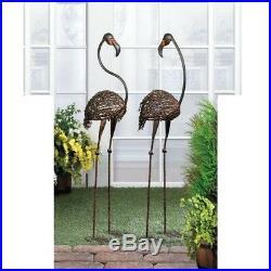 2 Set Life-sized 42 Tall Large Metal Flamingo Sculpture Garden Yard Stake Decor