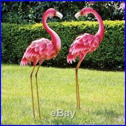 2 Tall Metal Flamingo Garden Statues Outdoor Sculptures Patio Yard Entry Decor