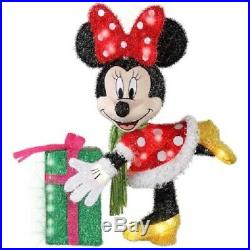 27 Lighted Disney Minnie Mouse Sculpture Pre Lit Outdoor Christmas Decor Yard