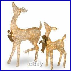 2pc Lighted Golden Deer Sculpture Set Outdoor Christmas Decor Holiday Yard Art