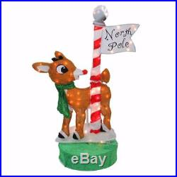 3 FT ANIMATED LIGHTED RUDOLPH NORTH POLE OUTDOOR CHRISTMAS Yard Decor PRELIT