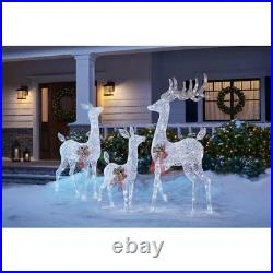 3 Piece Lighted White Reindeer Family Deer Buck Doe Outdoor Christmas Yard Decor