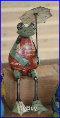 3 Recycled Metal Frog Ledge Shelf Sitters Garden Yard Art Frogs Statue Figurine