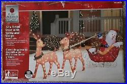 32 Outdoor Christmas Santa with 2 Deer Sleigh Decoration Lighted Yard Art Display