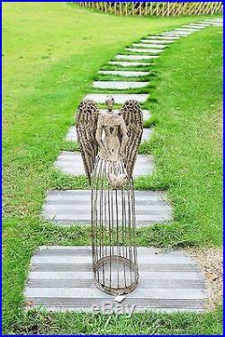 32'' Tall Garden Metal Angel Rustic Yard Decor Antiqued Sculpture Lawn Statue