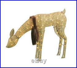 34 Lighted Doe Deer Fur Scarf Sculpture Pre Lit Outdoor Christmas Decor Yard