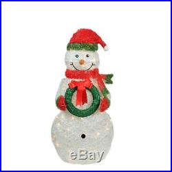 38 PRE-LIT TINSEL SNOWMAN OUTDOOR CHRISTMAS Yard Decoration Lighted Display