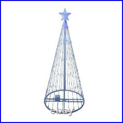 4' Animated LED Lighted BLUE LIGHT SHOW CONE TREE Outdoor Christmas Decor Yard