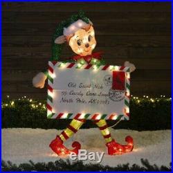 40 Lighted Santa's Helper Elf Sculpture Pre Lit Outdoor Christmas Decor Yard