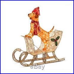 42 Outdoor Lighted Dog In Sleigh Christmas Decoration Sculpture Yard Decor