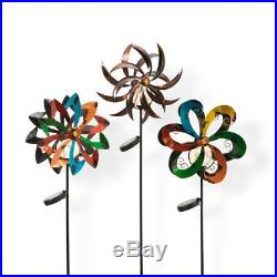 43 in. Tall Solar-Powered Metal Yard Stakes Lighted Garden Wind Spinners 3-Set