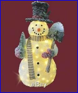 47 Lighted Snowman Sculpture Pre Lit Outdoor Christmas Decor Yard Art Display
