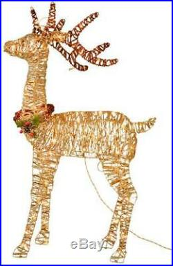 48 Large Prelit Woodland Standing Buck Champagne Outdoor Yard Christmas Decor