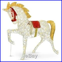 48 Lighted White Horse Sculpture Pre Lit Outdoor Christmas Decoration Yard