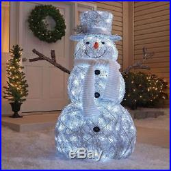48 Outdoor Cool White Twinkling Snowman Sculpture Lighted Christmas Yard Decor