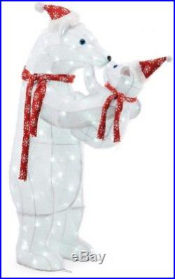 48in 200L LED Polar Bear Family Set Holiday Christmas Outdoor Yard Decoration
