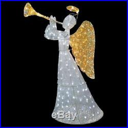 5 Foot Lighted Trumpeting Christmas Angel Sculpture Outdoor Yard Lawn Decoration