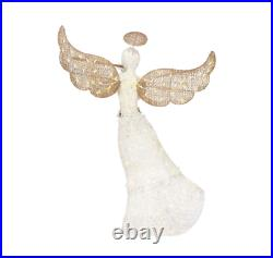 5 ft Elegant Christmas Yard Lawn Decor LED Lighted Angel Sculpture with Flute