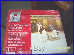 5 ft. Lighted Reindeer and Sleigh Christmas Home Yard Deer Decor 280 LED Lights