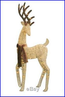 59 Lighted Buck Deer Fur Scarf Sculpture Pre Lit Outdoor Christmas Decor Yard