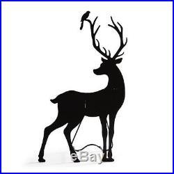59 Outdoor Black Metal Buck Deer Silhouette Figure Holiday Christmas Yard Decor