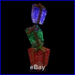 6 FT TALL SET OF 3 LIGHTED GIFT BOXES OUTDOOR CHRISTMAS Yard Decoration PRE-LIT