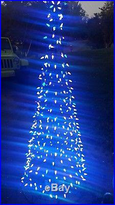 6 ft LED Lighted Multi Lights Twinkling White Tree Outdoor Christmas Yard Decor