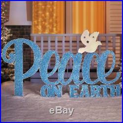 60 Blue Glitter Peace Sign Display Metal Yard Art Outdoor Christmas Decoration