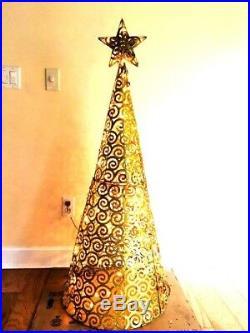 60 In 100 Clear prefit Gold Glitter Conical Star Swirl Christmas tree Yard Decor