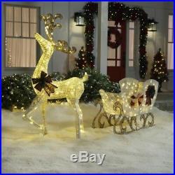60 in. 160-Light PVC Deer 44 in. 120-Light Sleigh 8 ft. Christmas Yard Decor