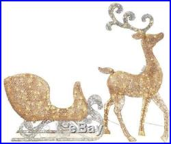 65 in. LED Lighted Gold Reindeer Sleigh Outdoor Yard Christmas Decoration Light