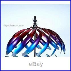 7' F Lawn Wind Spinner Stake Kinetic Sphere Garden Decor Windmill Yard Sculpture