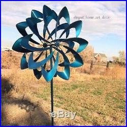 7' Ft Lawn Wind Spinner Stake Kinetic Blue Brazil Garden Windmill Yard Sculpture