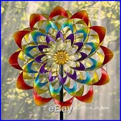 7' Ft Lawn Wind Spinner Stake Rainbow Flower Garden Windmill Art Yard Sculpture