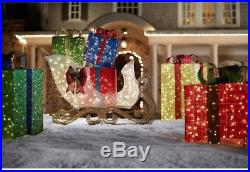 72 in. LED Lighted Jumbo Sleigh with Presents Christmas Gifts Outdoor Yard Decor