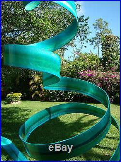 Abstract Metal Garden Sculpture Yard Art Indoor-Outdoor Decor Ocean Wisp