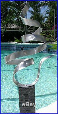 Abstract Silver Metal Garden Sculpture Yard Art, Garden Statue, Outdoor Art
