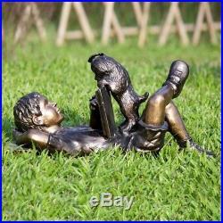 Adorable Impatience Dog & Boy Reading Garden Sculpture Metal Statue Yard Art