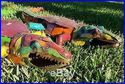 Alligator Crocodile Recycled Distressed Metal Garden Yard Art Hand Made Reptile