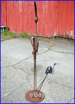 Antique Iron Metal Yard Sculpture Ornament Life Size Bird FLAMINGO in Raw Iron