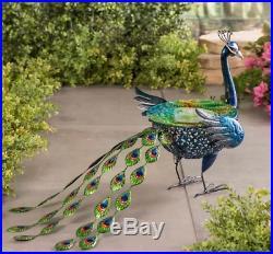 Birdbath Peacock Sculpture for Garden Yard Outdoors Metal Glass Blue Green 20 L